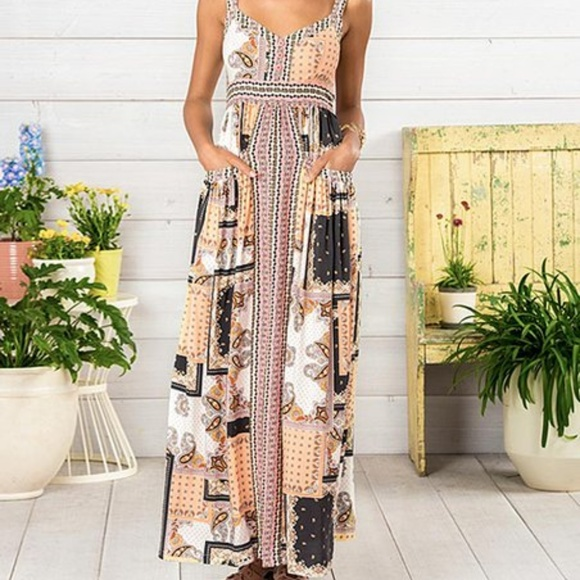 Matilda Jane Dresses & Skirts - Matilda Jane Patchwork Maxi Dress Boho Festival